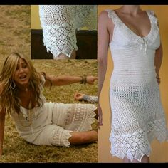 Handmade crochet dress white pretty I had this made for me from Romania  never wore it.its the dress Jennifer Anniston wore in wonderlust.very beautiful well made. handmade Dresses