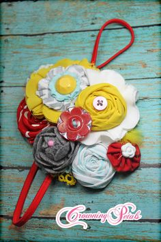 like the flowers...Fabric Flower Headband, Aqua, Mustard, Grey, Red Hair Accessories, Baby Girl Hair Bows, Flower Brooch, Infant Headband. $27.50, via Etsy.
