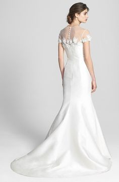 497768 3850 Badgley Mischka Bridal Audrey Cap Sleeve Embellished Mermaid Dress In Stores Only
