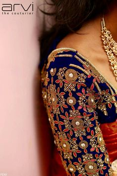 Blue blouse with maggamwork Wedding Saree Blouse Designs, Pattu Saree Blouse Designs, Fancy Blouse Designs, Dress Designs, Saree Wedding, Sleeves Designs For Dresses, Sleeve Designs, Maggam Work Designs, Bollywood