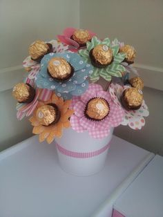 Mother Birthday Gifts Our ferrero rocher bouquet The kids and I made this for grandmas birthday ♥ I&. Mother Birthday Gifts, Diy Birthday, Birthday Bouquet, Mothers Day Crafts, Crafts For Kids, Craft Gifts, Diy Gifts, Ferrero Rocher Bouquet, Ferrero Rocher Gift