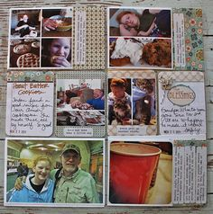 "love the journaling on the ""cup"" picture...also like how she incorporates scrapbking supplies in her pgs."