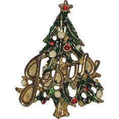 "RARE Jesus Word Christmas Tree Pin ~ Book Piece...He's the reason for the season...Have the ""Xmas"" tree, too."