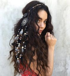 We are so inspired by Vanessa Hudgens's dreamcatcher hairpiece! It's the perfect flower-crown alternative for Summer music festivals.