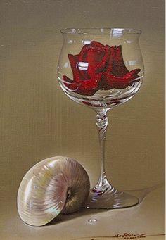 javier mulio   óleo pintor javier mulio bodegón realista con manzanas y copa