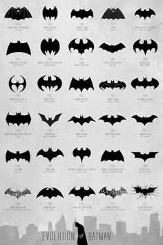 This shows the evolution of the Batman logo over the years. I really do not like the 1993 version. I think the latest version works really well because it is flattened as opposed to a lot of the other ones which have rounded wings. I also like that there are cracks behind it which make it seem more tough.