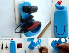 homemade mobile charger holder - 25 DIY Ideas to Recycle Your Old Things - DIY Crafts - DIY Projects Easy Plastic Bottle Crafts, Plastic Recycling, Recycle Plastic Bottles, Plastic Ware, Diy Phone Stand, Phone Charger Holder, Homemade Mobile, Garrafa Diy, Ways To Recycle