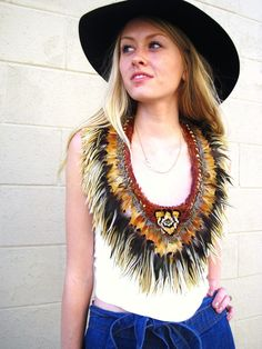 Vintage 70s White Leather Feather Halter top Pheasant plumage rockstar boho