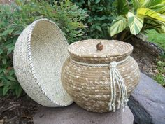 Fabric-wrapped cording pottery, by Sherrill Andrea.