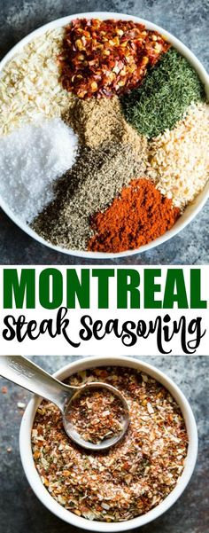 An easy recipe for Montreal Steak Seasoning. Make this copycat spice blend using common pantry ingredients. It's great on steak of course but also delicious on chicken pork and vegetables. Or mix with oil and soy sauce for a delicious marinade! Homemade Spices, Homemade Seasonings, Chorizo, Steak Spice, Steak Rubs, Bbq Steak, Tandoori Masala, Rub Recipes, Easy Recipes