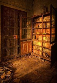 Abandoned library in mansion in England.