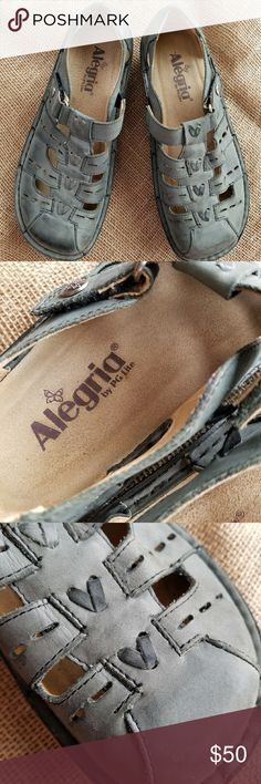 Alegria | Close toe scandal | sz 37 So Comfy! With these on you are literally walking on air!   They are beautiful neutral gray that goes with anything. These have been worn before, but only a handful of times. Velcro on straps are as good as new.   Open to questions and offers! Alegria Shoes Sandals