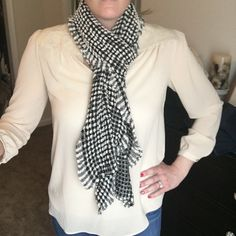 "Black and White Checkered Scarf w/ Ruffled Edge This scarf is very soft and stretchy and is 100% acrylic. It measures 78"" tall and 11"" across. It does have two snags that I noticed that are shown in the picture but it does not affect the quality of the scarf. Accessories Scarves & Wraps"