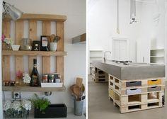 étagères  en palettes et ilot de cuisine en bois idée exemple style shabby chic industriel bohème DIY déco