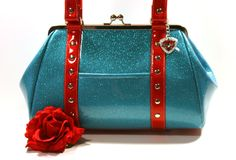 Sky Blue Glitter Purse with Your Choice of Contrast Vinyl, Rockabilly, Metal Flake, Retro - MADE TO ORDER. $140.00, via Etsy.