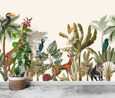 Large Safari Mural - Removable Self Adhesive Vinyl Peel and Stick Wallpaper, Wild Animals and Palms Nursery Wall by Green Planet for Kids Wallpaper Panels, Vinyl Wallpaper, Print Wallpaper, Peel And Stick Wallpaper, Scenic Wallpaper, Wallpaper Murals, Photo Wallpaper, Wallpaper Application, Special Wallpaper
