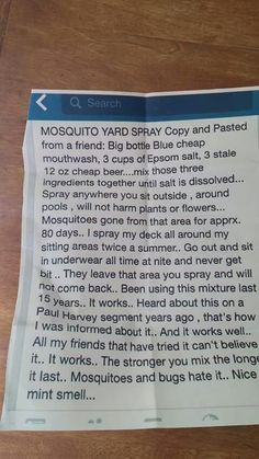 Natural And Economical Way To Rid Your Yard Of Pesky Mosquitos! Safe For Kids, Pets, And Plants! Natural And Economical Way To Rid Your Yard Of Pesky Mosquitos! Safe For Kids, Pets, And Plants!It's that Easy!