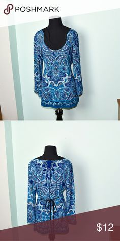 Beautiful Blue Print Silky Blouse In excellent condition! Very comfortable, lightweight, and soft! Buy 3 items and get 1 free plus 15% off your purchase total! Tops