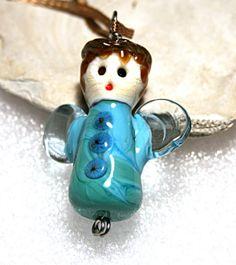Jeanniesbeads Lampwork  Beads Focal Snowangel by JEANNIESBEADS, $25.00