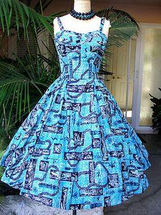 Vtg 50's Shaheen Blue Hawaiian Surfer Print Pinup Sun Dress Garden Party Dress | eBay