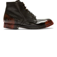 Dolce & Gabbana Black & Red Smudges & Distressed Combat Boots