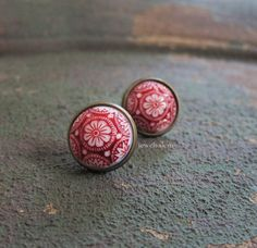 Exotic Earrings Studs Rustic Autumn Fall Red Vintage Glass Tile Spanish Mosaic Floral Paisley Mexican Aztec Statement Vintage Antique Brass LOTR Fantasy T1