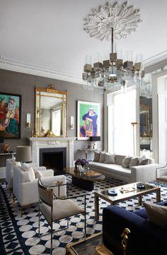 Гостиная, холл в цветах: черный, серый, светло-серый, белый, бежевый. Гостиная, холл в стиле арт-деко.