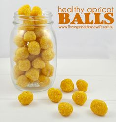 {The-Organised-Housewife}-Healthy-Apricot-Balls-Kids-Lunchbox. Equal parts dried apricots and dessicated coconut Lunch Box Recipes, Snack Recipes, Cooking Recipes, Lunchbox Ideas, Budget Recipes, Little Lunch, Bliss Balls, Cupcakes, Balls Recipe