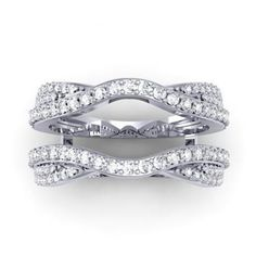0.75 Carat (ctw) 14k White Gold Round Diamond Wedding Band Enhancer Guard Double Ring 3/4 CT