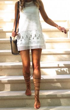 Street Style, May 2015: Brooke Carrie Hil is wearing a white dress and beige lace up sandals from Zara