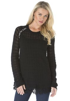 Plus Size Jewel and Lace Pullover