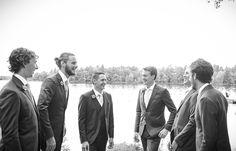 Groomsmen by the lake | Vintage wedding photography | www.newvintagemedia.ca | Kawartha Lakes Wedding