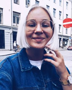 So exited about my new haircut that I am posting a way too close up selfie on Instagram  can't call my hair a lob anymore it's definitely a bob now  #blondebob #whitebob #monkistyle #extraoptical #goodlife