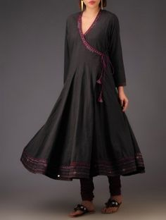 Charcoal Black Hand Embroidered Cotton Kalidar Angarakha - A kalidar inspired Vegetable dyed & embroidered kurta in cotton, this has a rustic yet chic vibe to it.