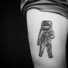 dotwork astronaut tattoo http://www.tattooesque.com/dotwork-astronaut-tattoo/