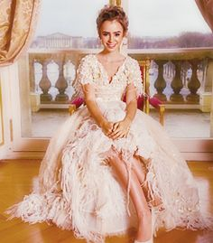 Lily Collins Chanel Haute Couture White Dress at the Crillon Ball in Paris 2007