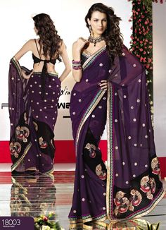 Passionate Purple Faux Georgette Saree with Blouse