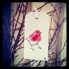 Hand painted watercolour gift tag by rebecca yoxall, luggage tags, unique, creative gift wrapping, watercolor painting, bird, bird design, robin, christmas, winter.