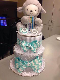 Gender neutral diaper cake. My little lamb. #basketcasebaskets