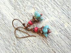 Dangle earrings dangling earrings beaded earrings blue