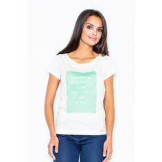 Cotton top with an imprint High Fashion, Womens Fashion, Fashion Addict, Amazing Women, V Neck, Clothes For Women, Cotton, Tops, Products