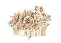 Maia Ivory & Honey Bridal Headpiece comb guipure lace, silk flowers, Swarovski crystals