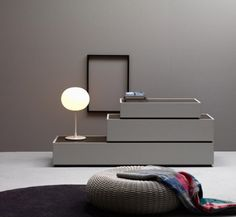 Furniture systems with a minimalistic, space-saving approach by Caccaro