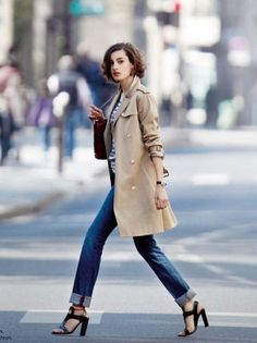 Parisian Chic | Jeans + Striped Tee + Trench + Heels (Nine d'Urso)