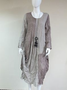 "- Art to Wear Linen Gauze Dress. - Made with 100% Linen natural fabric. - Size S/M bust 22"" flat hips 26"" flat length 45"" - Hand wash cool water"