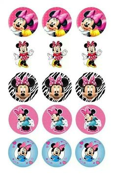 Bottle Cap Art, Bottle Cap Crafts, Bottle Cap Images, Minnie Mouse Theme Party, Mouse Parties, Minnie Mouse Stickers, Movie Crafts, Mickey And Friends, Mickey Minnie Mouse