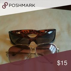 2 pairs of shades Tortoise shell brown and avaiter style sun glasses Accessories Sunglasses