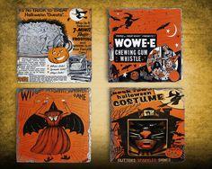 Halloween Decor Vintage Halloween Coaster Set, Hostess Gift, Slate Drink Coaster Set of Four, Holiday Coaster Set, Housewarming Gift Idea