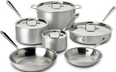 Awesome All-Clad 700508 Master Chef 2 Stainless Steel Tri-Ply Bonded Cookware Set, 10-Piece, Silver Check more at http://thecookwarecorner.com/cookware-sets/stainless-steel/all-clad-700508-master-chef-2-stainless-steel-tri-ply-bonded-cookware-set-10-piece-silver