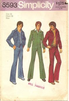 Simplicity Pattern. this was a popular look for the smooth dudes of the 70's
